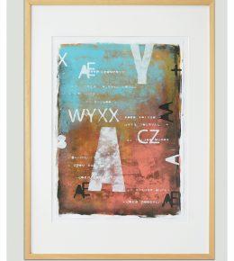 kleurrijk schilderij op papier, moderne wandkunst, Ronald Hunter