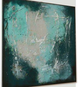 blauw_wit_groen_abstract_schilderij_vierkant_canvas_ronald_hunter_klaar_om_op_te_hangen