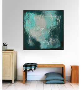 blauw_wit_groen_abstract_schilderij_vierkant_canvas_ronald_hunter_klaar_om_op_te_hangen2