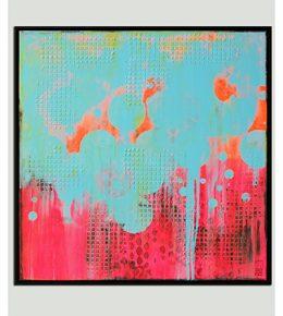 Neon pop art schilderij, roze en licht blauw door Ronald Hunter
