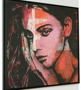 Modern pop art portret, roze rood met zwart van Ronald Hunter