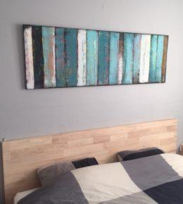 Slaapkamer met origineel schilderij, Ronald Hunter, blauw horizontaal schilderij, moderne wandkunst
