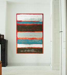 Abstract schilderij van Ronald Hunter: Red Stacked.