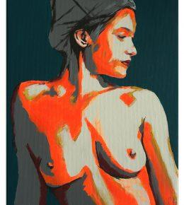 Studie van lichaam en gezicht in neon accenten van Ronald Hunter
