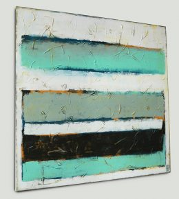 Stacked in Turquoise, modern schilderij door Ronald Hunter.