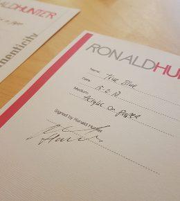 Certificaat van echtheid Ronald Hunter bij iedere Fine Art on Paper