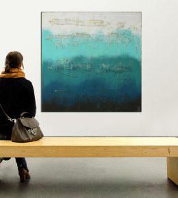 Groot abstract schilderij, door Ronald Hunter.