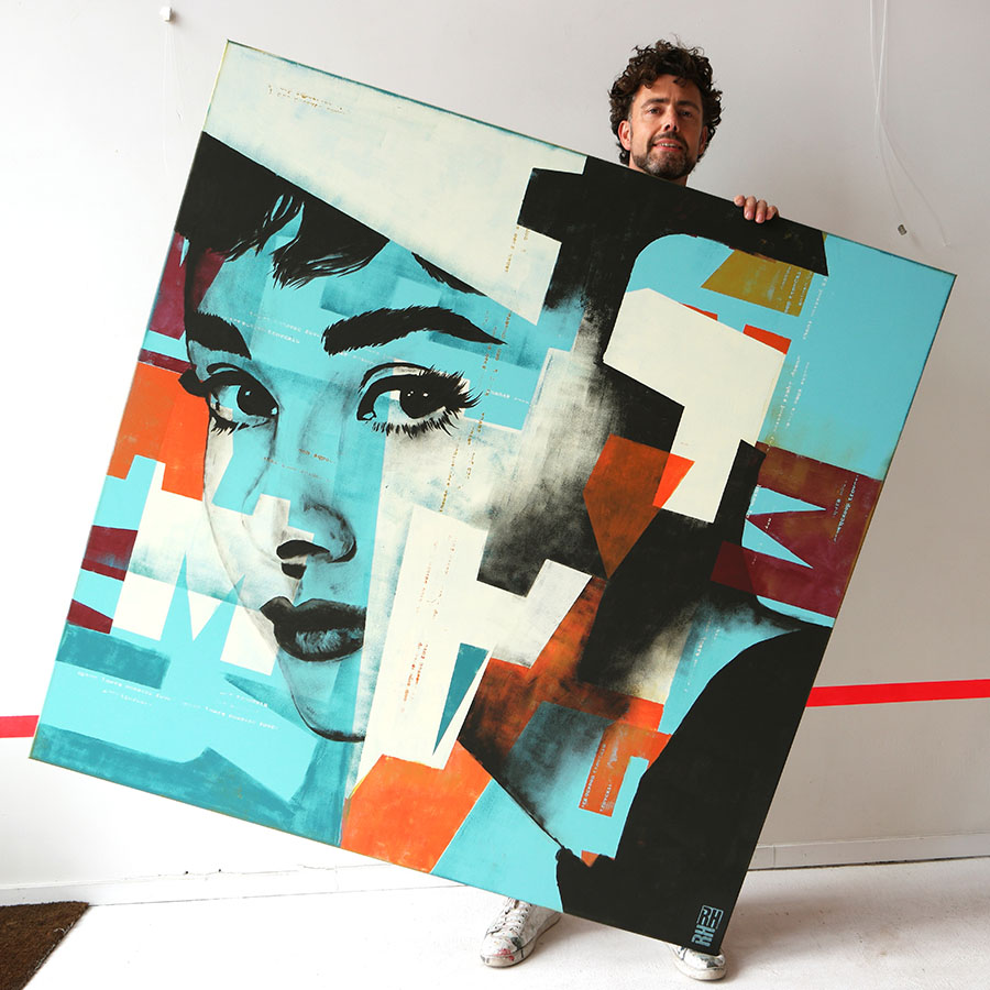 Pop art portret Audrey Hepburn, kunst op maat door Ronald Hunter